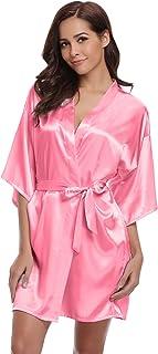 1afb9a334b177 Aibrou Peignoir Satin Femme Robe de Chambre Kimono Femmes Sortie de Bain  Nuisette Déshabillé Couleur Pure