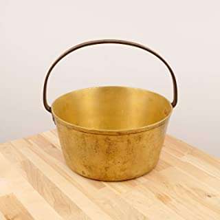 Restored by UkaVintage Heavy Brass Cauldron/Boiler Pot || Vintage Solid Brass || Cast Iron Handle