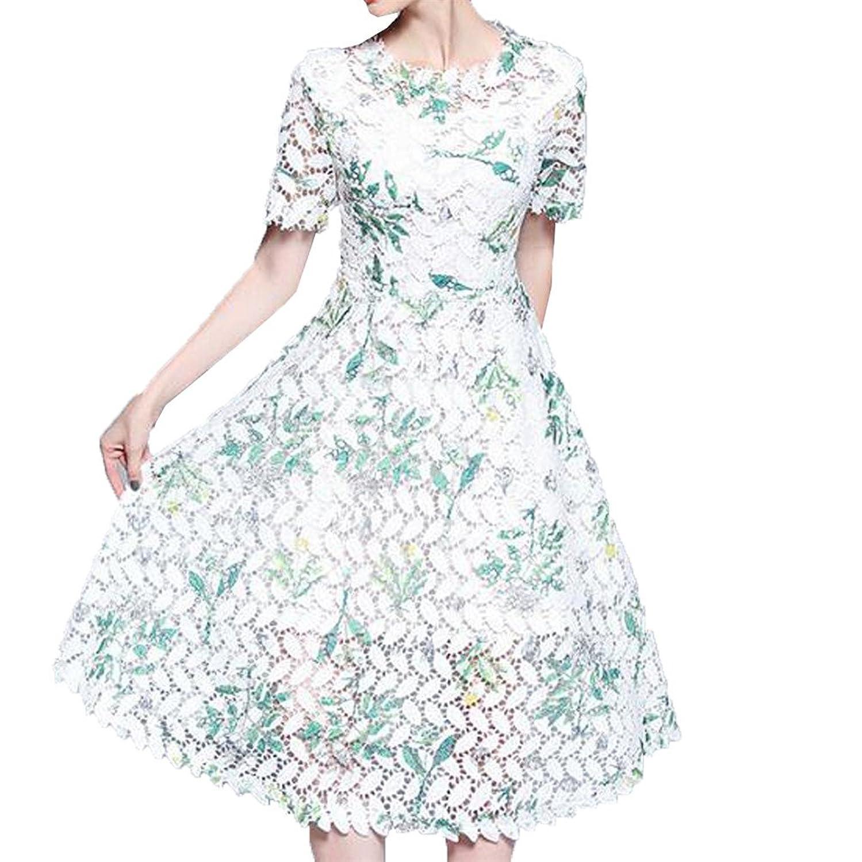 [美しいです] 夏 女性 レディース レース 透かし彫り デザインセンス 花柄 ウエスト 新着 中?長セクション スカート ファッション 欧米風 スリム ロングドレス 半袖 通勤