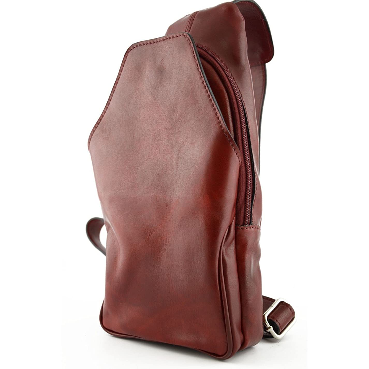 統治する曖昧な必要条件Made In Italy Genuine Leather Mono-Shoulder Backpack With Front Pocket Color Red - Backpack