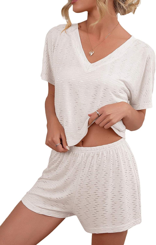 WAYMODE Women's Pajama Lounge Set Short Sleeve V Neck Tee and Short Sleepwear Sets
