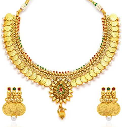 Eye Catchy Pearl Gold Plated Wedding Jewellery Temple Jewellery Coin Necklace Set For Women 2115NGLDPV2000 AMZ