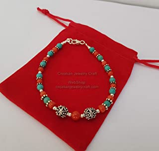 Small Bead Red Coral and Turquoise Bracelet, Croatian Filigree Ball Bracelet, Untreated Mediterranean Coral *Exp Shipping