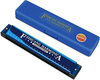 Harmonica ,Key of C,24 Holes Musical Instrument Accessories,Blues Harmonica for Adults and Children