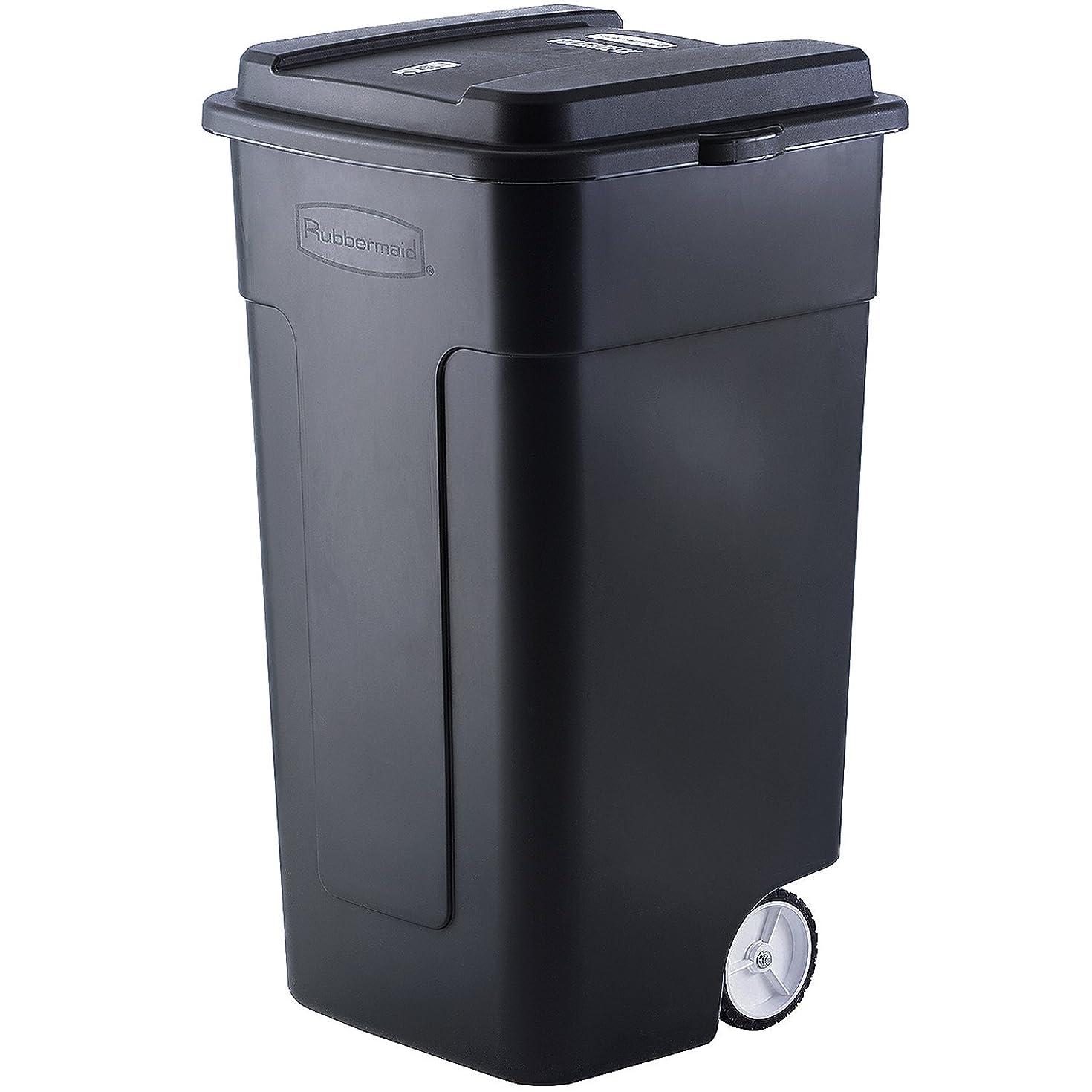 ジョージスティーブンソントリム万一に備えてラバーメイド(Rubbermaid) キャスター付き ゴミ箱 リフューズコンテナ 50ガロン (189L) ブラック FG285100BLA