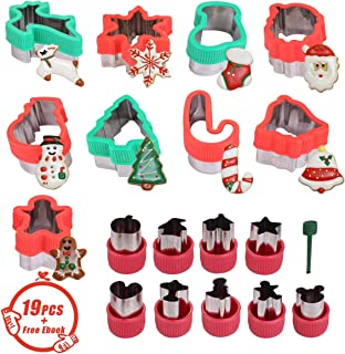 19 Pcs Stainless Steel Christmas Cookie Cutters Set Holiday,Sandwich Vegetable Cutters for Kids,Gingerbread House Man,Snowman,Snowflake,Reindeer,Santa,Dinosaur Shaped for Holiday Baking Gift