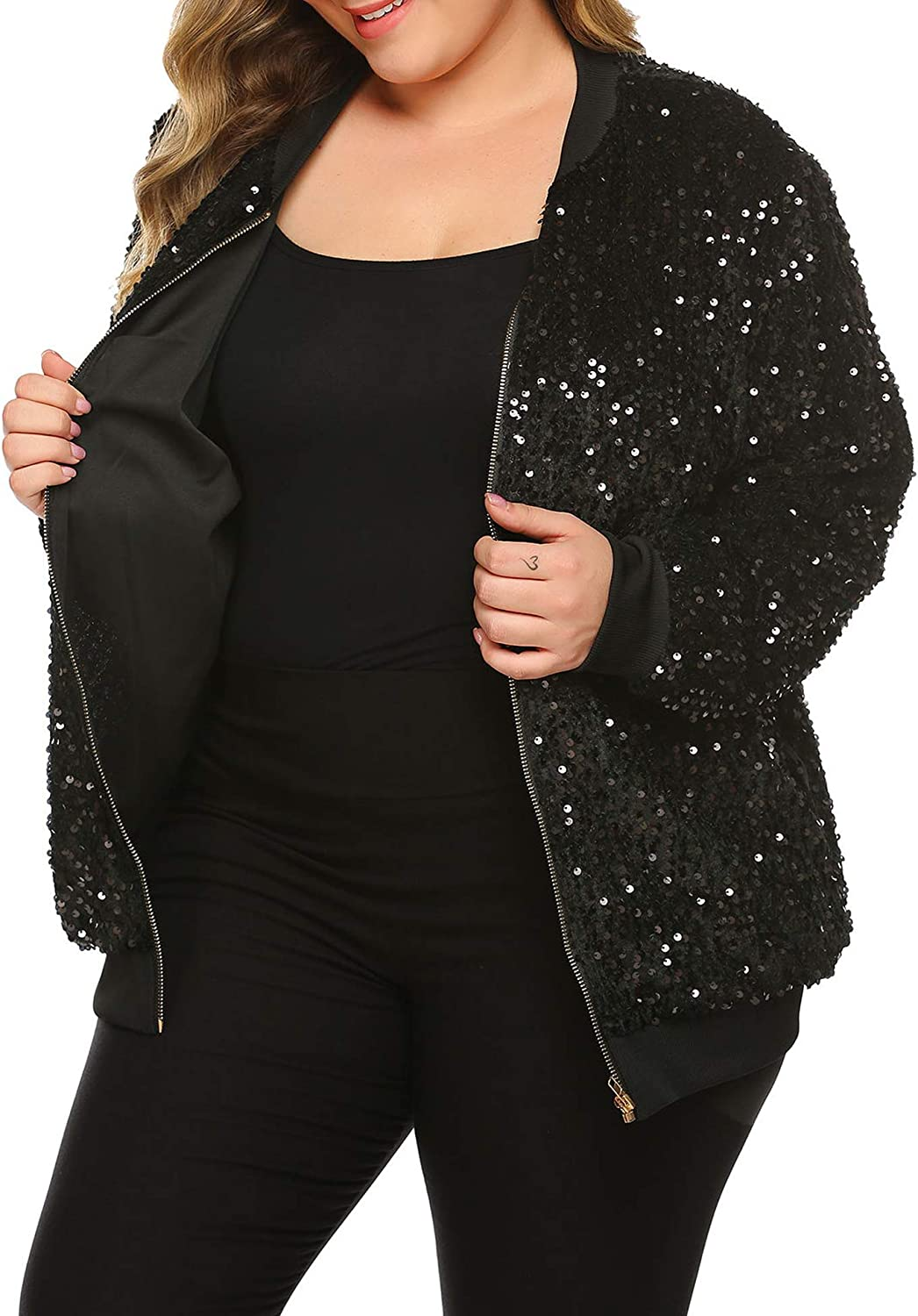 IN'VOLAND Womens Sequin Jacket Plus Size Sparkle Long Sleeve Jackets Front Zip Loose Casual Blazer Bomber Jacket With Pocket