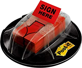 "Post-it Message Flags,""Sign Here"", Red, 1-Inch Wide, 200/Desk Grip Dispenser, 1-Dispenser/Pack"