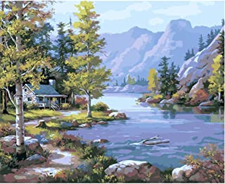 SUBERY Paintworks DIY Oil Painting Paint by Number Kits for Adults Kids Beginner - Cottage by The River 16x20 inches (Without Frame)