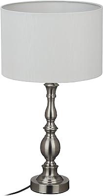 Relaxdays Lámpara de mesa, pantalla de tela, casquillo E27, para salón y dormitorio, lámpara de noche vintage, 57 x 30,5 cm, color plateado