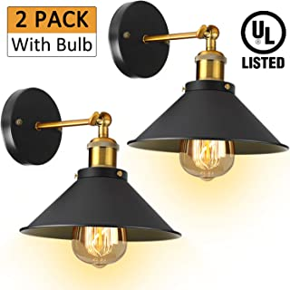 Industrial Vintage Wall Sconces Light - [UL Listed] 2 Pack With Bulb 3000K Hardwire Wall Sconce Lighting Arm Swing Wall Lights