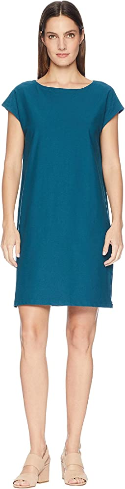 Washable Stretch Crepe Bateau Neck Layering Dress with Side Zips