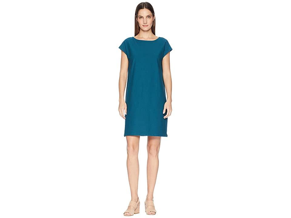 Eileen Fisher Washable Stretch Crepe Bateau Neck Layering Dress with Side Zips (Dark Jewel) Women