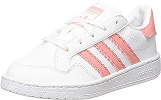 Adidas ORIGINALS Team Court C White/Glow Pink Leather 2½ US Child
