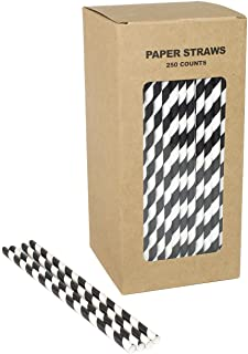 Black White Paper Straws - Box of 250-7.75 inches, Disposable Healthy Striped Paper Sticks for Cake Pop, Lollipop, Candy Apples etc.