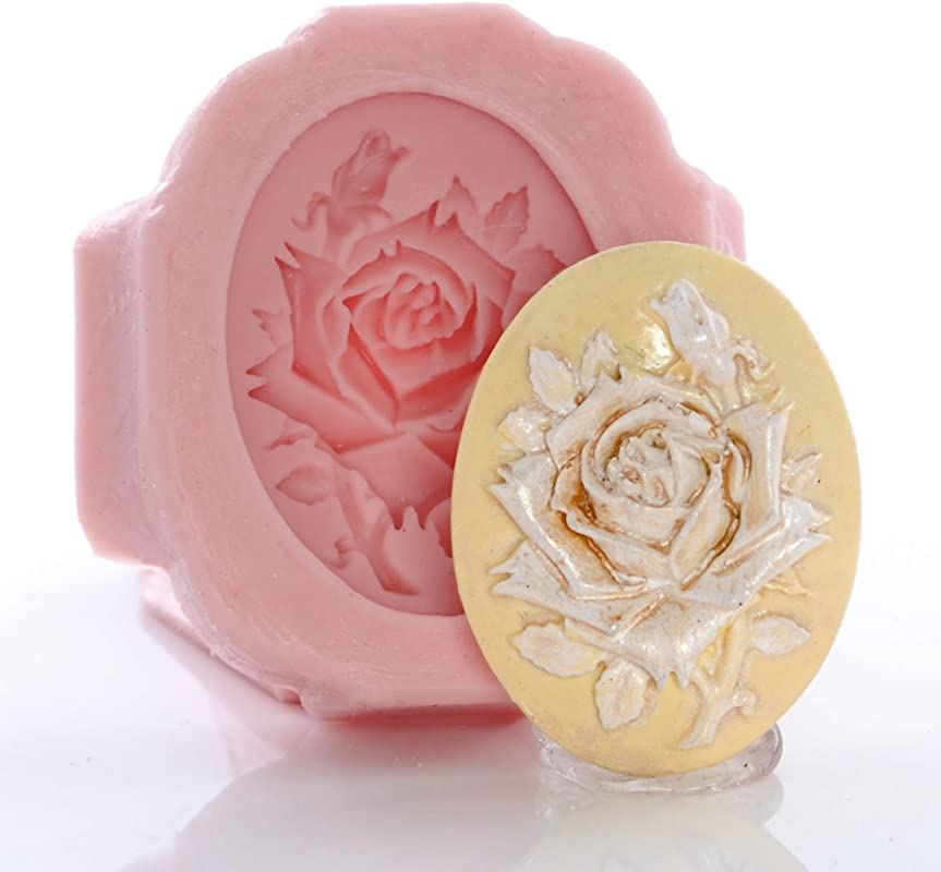 Rose Cameo Silicone Mold Food Safe Fondant Chocolate Candy Resin Polymer Clay Jewelry Craft Mold