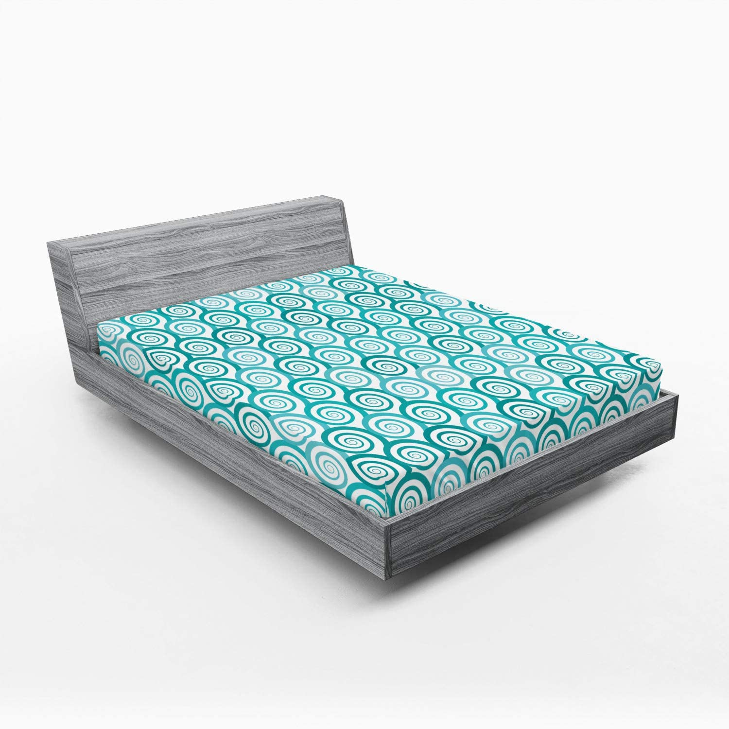 Ambesonne Retro Fitted Sheet 5 ☆ very popular online shop Abstract Flat Sea Design Rep Waves