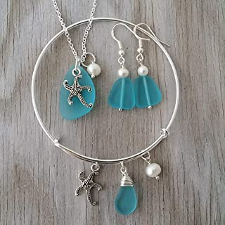 product image for Handmade in Hawaii, blue sea glass necklace + earrings + bracelet jewelry set, starfish charm, Freshwater pearl, (Hawaii Gift Wrapped, Customizable Gift Message)