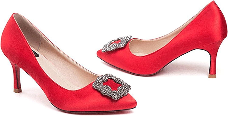 WANabcMAN Comfortable Women's Dressy Rhinestone Stiletto Kitten Heel Pumps Pointed Toe Slip On Low Top Wedding shoes