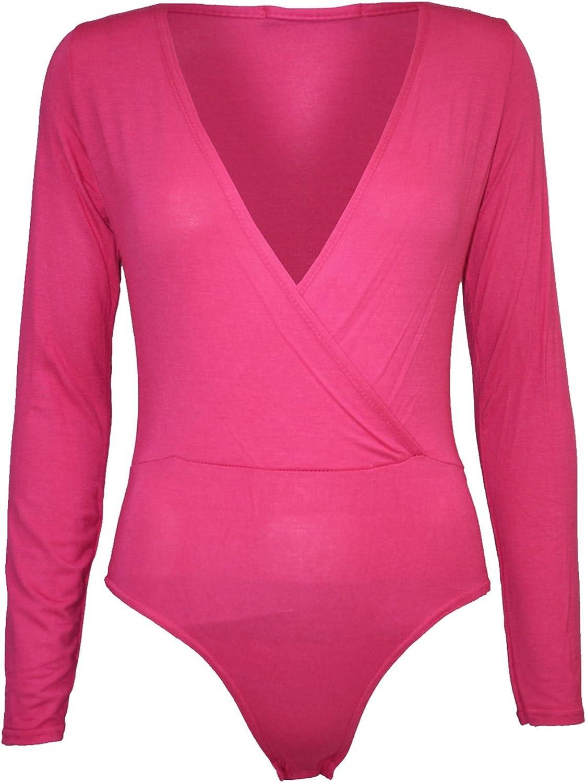 Be Jealous Women's Wrap Cross Over Deep Plunge Full Sleeve Bodysuit Leotard Top