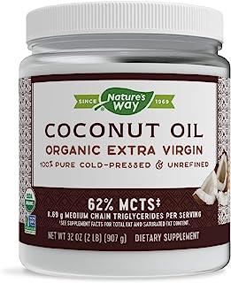 Nature's Way Organic Extra Virgin Coconut Oil, Pure & Unrefined, Cold-Pressed, USDA Organic, Non-GMO, 32 Ounce