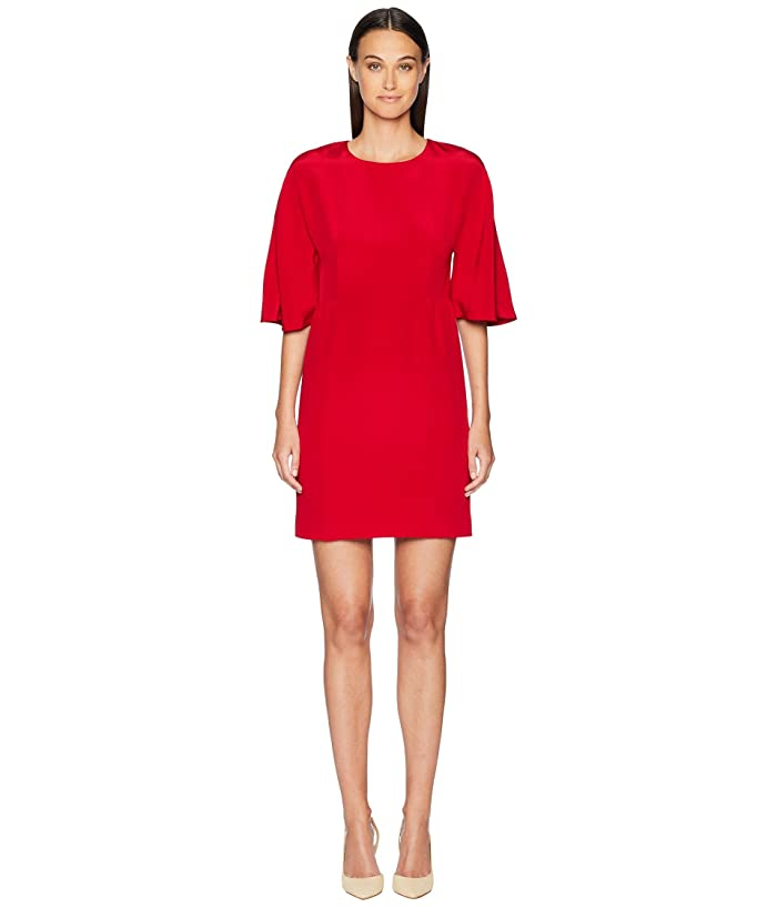 Adam Lippes Silk Crepe Sculpted Mini Dress (Red) Women's Dress