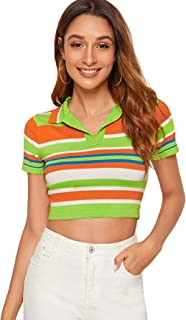 Verdusa Women's Collar Short Sleeve Colorblock Striped Ribbed Knit Crop Tee Top