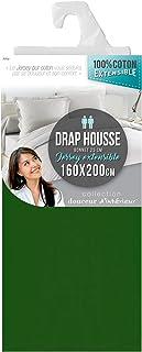 DRAP HOUSSE 2 PERSONNES 160 x 200 CM JERSEY UNI JERSY VERT SAPIN