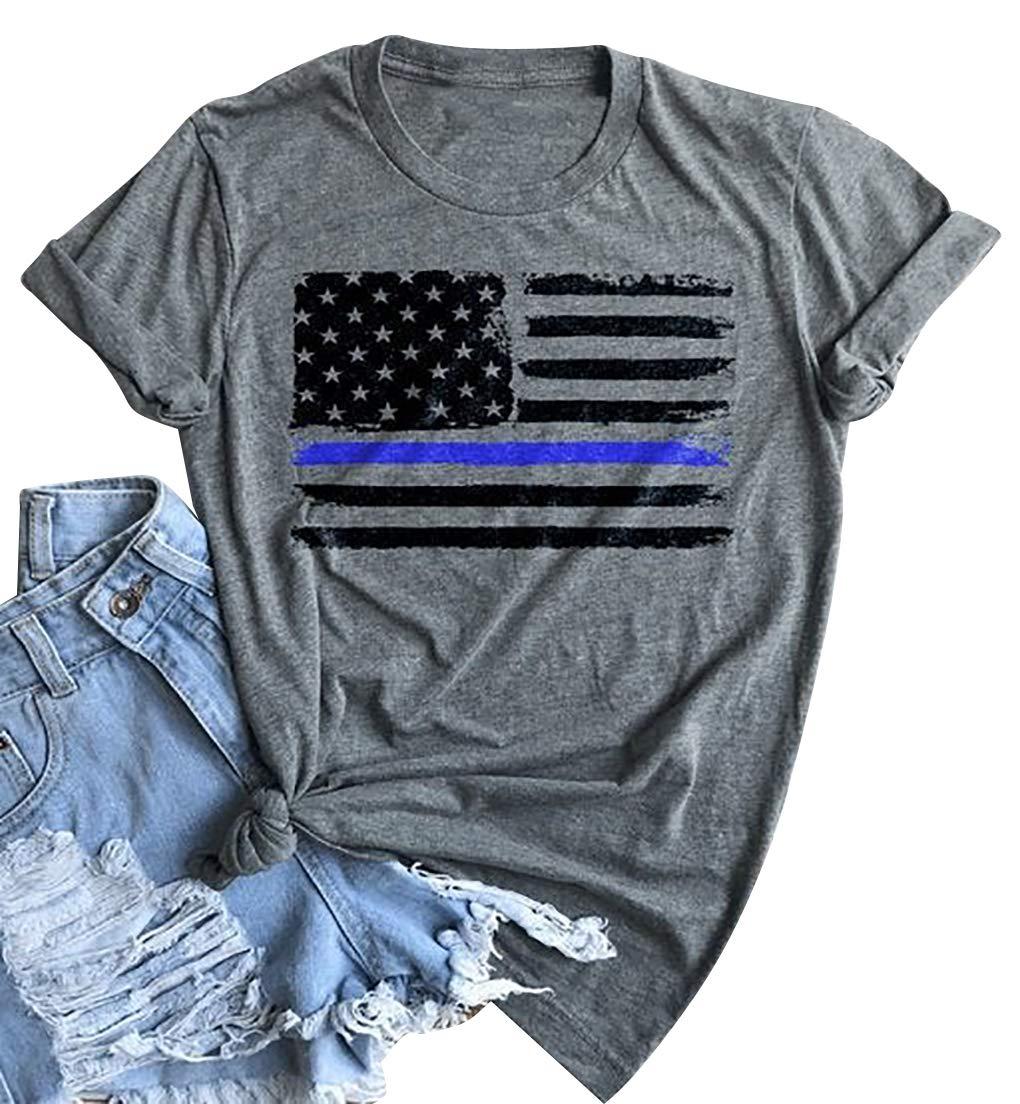 Thin Blue Line Shirt for Women Police Tshirt Distressed USA Flag Patriots Tshirt Blue Lives Matter Short Sleeve Tee Top