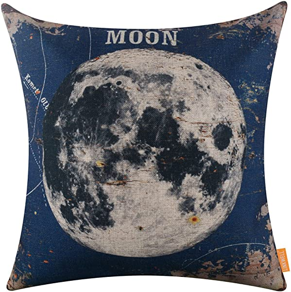 LINKWELL 18 X18 Vintage Blue Moon Natural Satellite Burlap Throw Pillow Case Seat Cushion Cover CC1224
