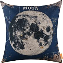 LINKWELL 18x18 Vintage Blue Moon Natural Satellite Burlap Throw Pillow Case Seat Cushion Cover (CC1224)