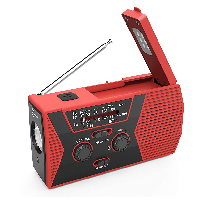 Esky Solar Crank NOAA Weather Radio for Emergency with AM/FM, Flashlight, Reading Lamp and 2000mAh Power Bank