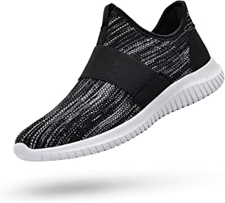 Feetmat Mens Tennis Shoes Slip On Running Gym Shoes Laceless Knitted Workout Fashion Sneakers
