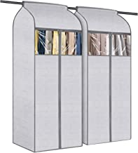 KEEGH Hanging Large Garment Cover Bag for Storage 60 inch Dustproof Closet Clothes Cover with Clear Window for Suit Dress ...