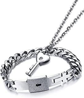 Impression Men's and Women's Newest Design Engraved Lock and Key Stainless Steel Couple Bracelet Pendant Necklace Set, Silver