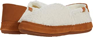 Acorn Women's Moc Slipper with a Collapsible Suede Heel and Warm Micro-Fleece Lining, Buff Popcorn, 9.5-10.5