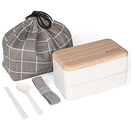Japanese Bento Box Aldult Lunch Box with Bag Cute Two Tier Stackable Lunch Box Quality BPA Free Microwave Safe and Portable Food Container with Chopsticks and Spoon (White)