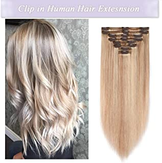 s-noilite Clip in Human Hair Extensions 100% Real Remy Thick True Double Weft Full Head 8 Pieces 18 clips Straight silky (18 inch - 140g,Ash Blonde/Bleach Blonde (#18/613))