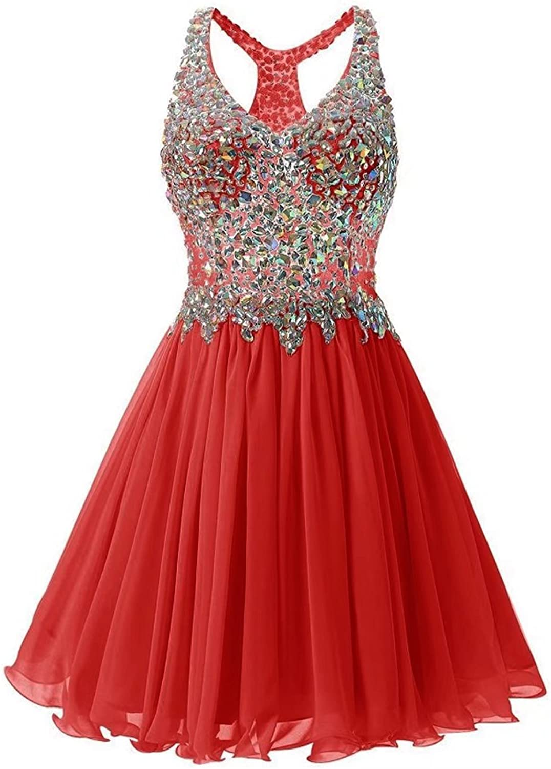 YOUTODRESS Women's V Neck Backlesss Tulle Evening Homecoming Bridemaid Dress with Beaded