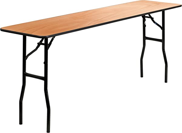 MFO 18 X 72 Rectangular Wood Folding Training Seminar Table With Smooth Clear Coated Finished Top