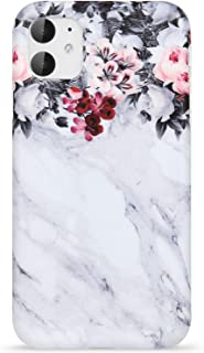 VIVIBIN iPhone 11 Case 2019 6.1 inch Cute Design for Women Girls,Clear Bumper Soft Silicone Rubber TPU Cover Slim Fit Protective Phone Case for iPhone 11 Grey Marble Flowers