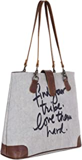 E-Tailor Women's Leather & Rich Canvas 12 Ltr. Off-White Tote Bag-16x12 Inch-TOTE501