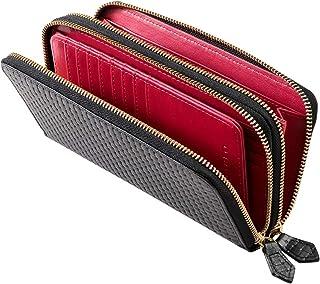 [ディアブロ] DIABLO 長財布 メンズ 本革 レザー ブロックメッシュ 型押し 大容量 ダブル ラウンドファスナー 財布 【KA-1180】