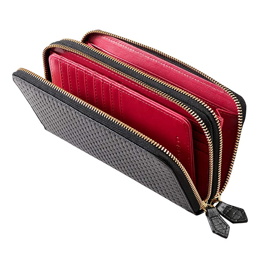 見える乏しいトラップ長財布 メンズ 本革 レザー ブロックメッシュ 型押し 大容量 ダブル ラウンドファスナー 財布 【KA-1180】