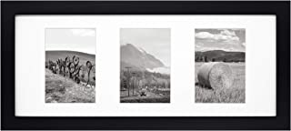 Golden State Art, 8x20 Black Photo Wood Collage Frame with Mat displays (3) 4