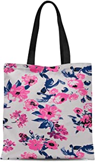 S4Sassy White Artistic Leaf & Floral Printed Women Large Tote Bag Shopping Travel Bag Shoulder Handbag 16x12 Inches