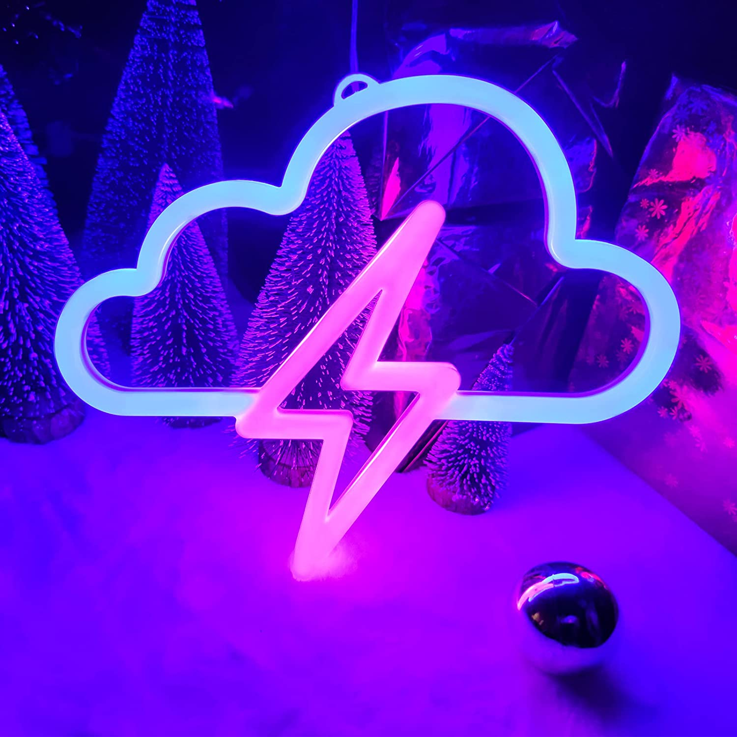Cloud and Lightning Neon Signs,Hanging Neon Sign Light,LED Neon Light Wall Decor with Hanging Hook Holes,Battery or USB Powered Light Up Neon Sign for Bedroom, Bar, Party, Wedding Cloud Lightning