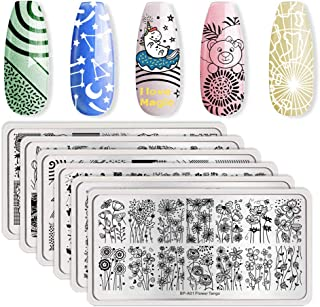 Born Pretty Nail Art Stamping Set 5Pcs Stripe Cosmos Pope Plates 1Pc Jelly Silicone Stamper for manicuring Print DIY Kit