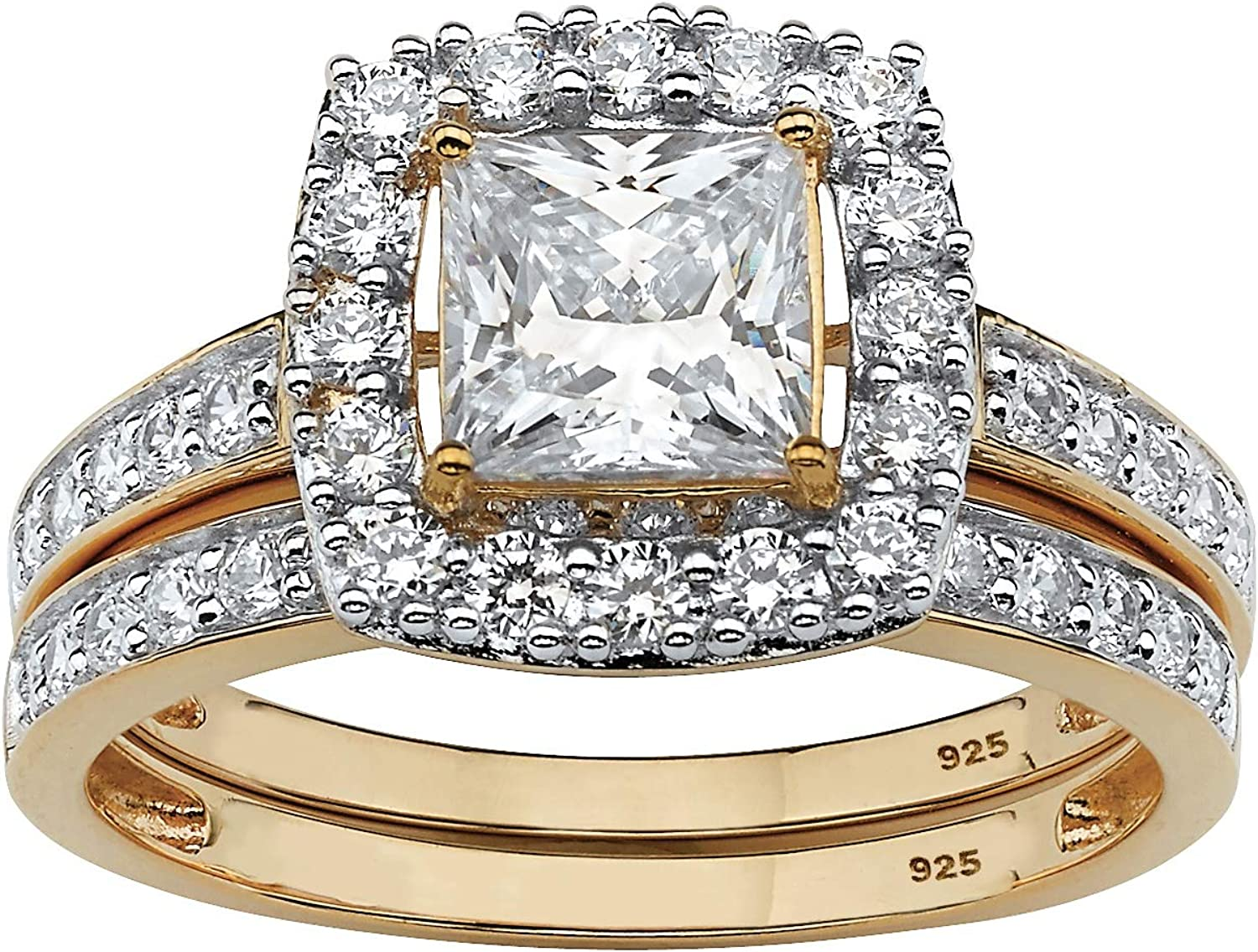 18K Yellow Gold over Sterling Silver Quantity limited Cut Cubic Zirconia Princess Mail order cheap