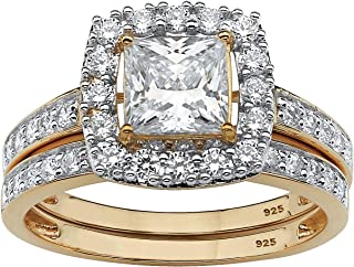 Details about  /Fashion 18k Yellow Gold Plated Rings Women White Sapphire Wedding Rings Sz 6-10